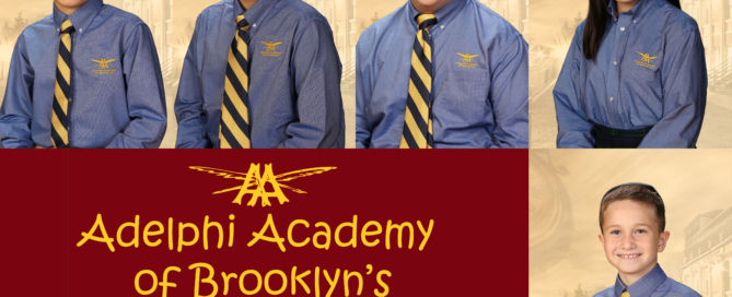 Adelphi Academy of Brooklyn's March 2020 Students of the Month: Edward (Lower School), Alex (Middle School), Matthew (Upper School), Erika (Student-Artist) and Platon (Scholar-Athlete).
