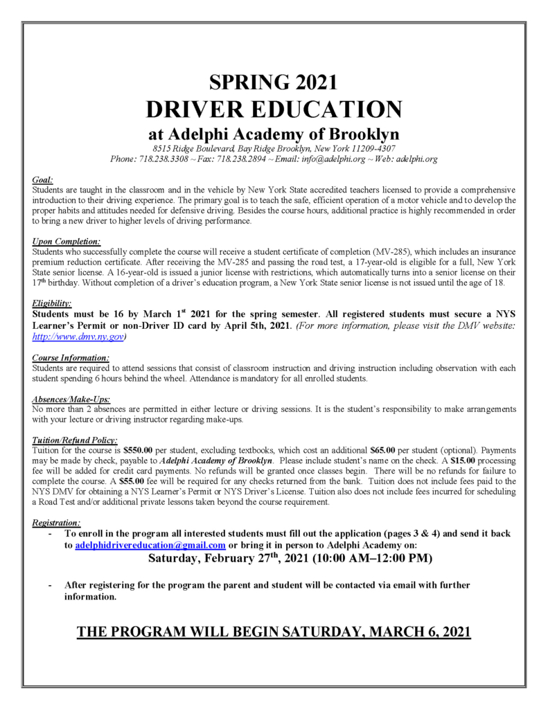 Spring Driver's Ed Letter and Application